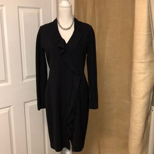 Hugo Boss Black Long Sleeve Ruffle Dress
